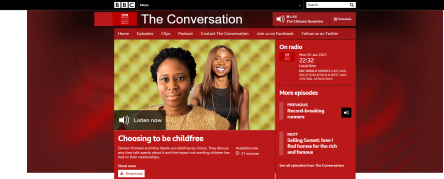 An image of Doreen Yomoah and Nina Steele of Nonparents on the BBC The Conversation podcast website